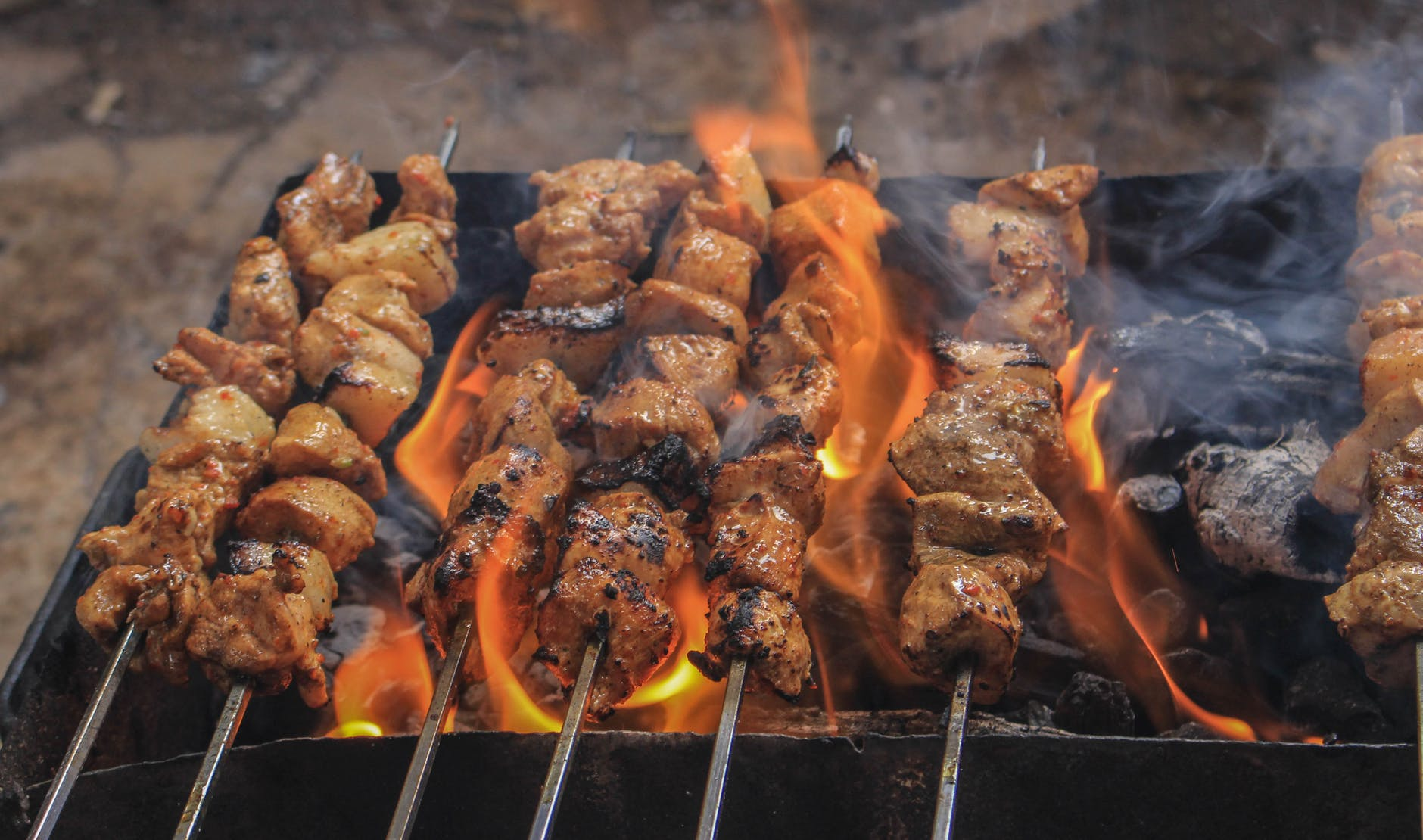 grilled meats on skewers