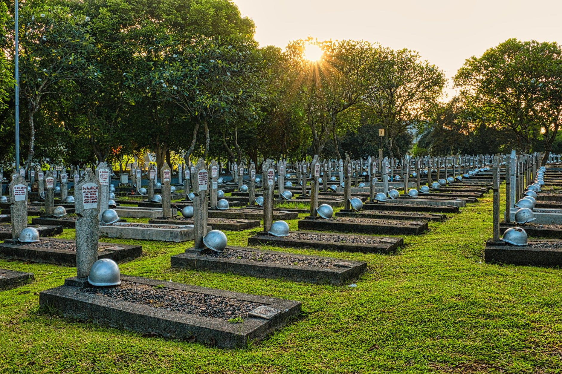 aged gravestones in national cemetery